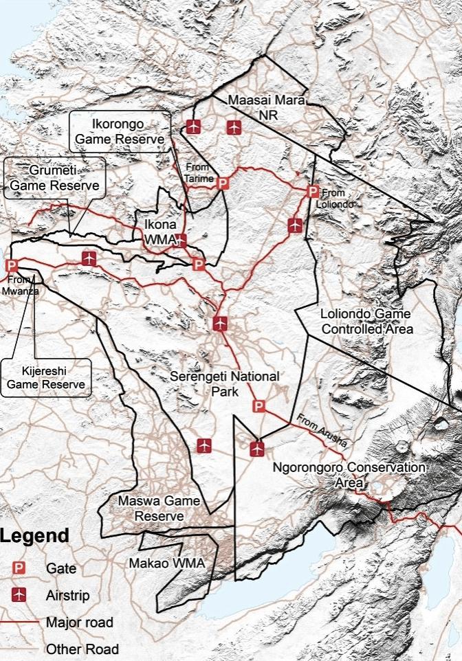 Carte du parc Serengeti