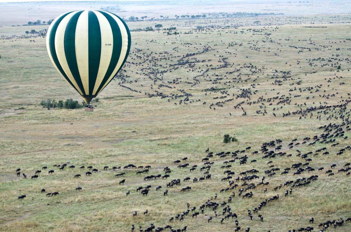 vol en montgolfière sur les plaines de Botswana