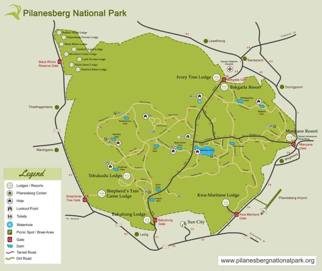 Carte du Pilanesberg National Park