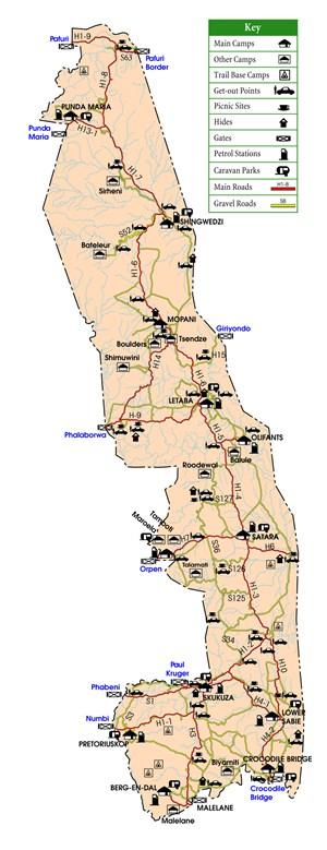 Carte du Parc Kruger